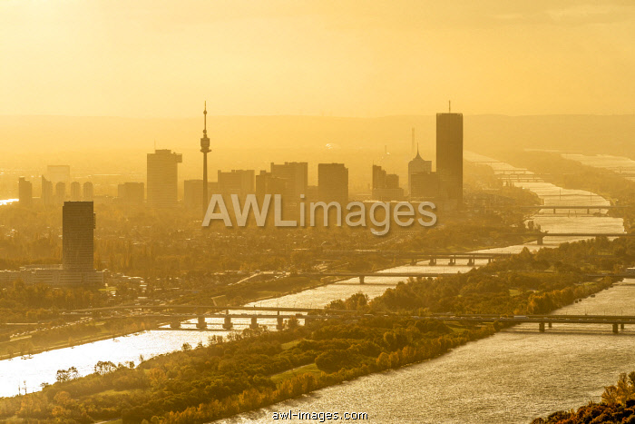 Vienna, Austria, Europe. View at sunrise of Vienna from Leopoldsberg