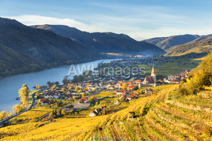 Weissenkirchen in der Wachau, Wachau, Waldviertel, Lower Austria, Austria, Europe. View from the vineyards to the village of Weissenkirchen in der Wachau