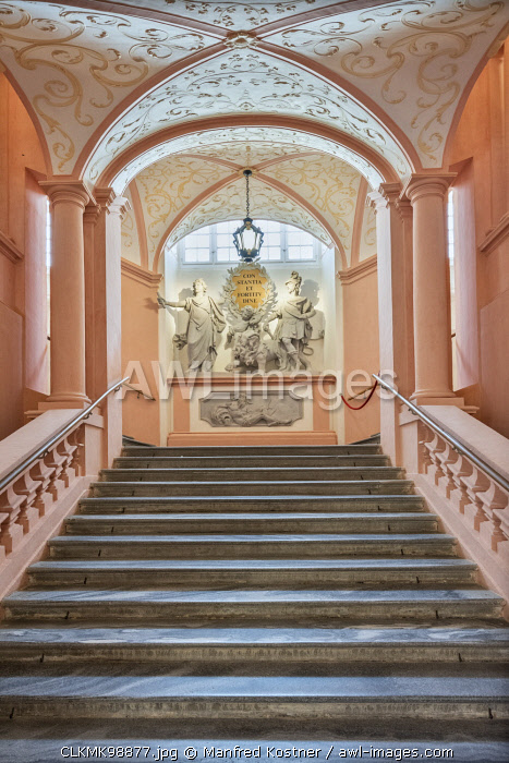 Melk, Wachau, Lower Austria, Austria, Europe. Staircase in the Benedectine abbey