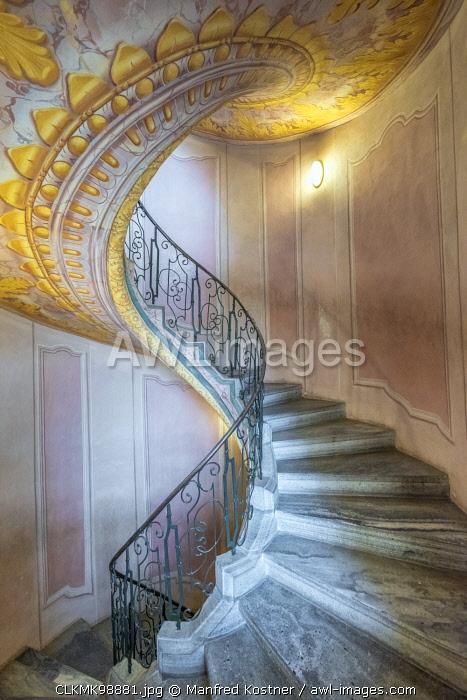 Melk, Wachau, Lower Austria, Austria, Europe. Staircase inside the Benedectine abbey