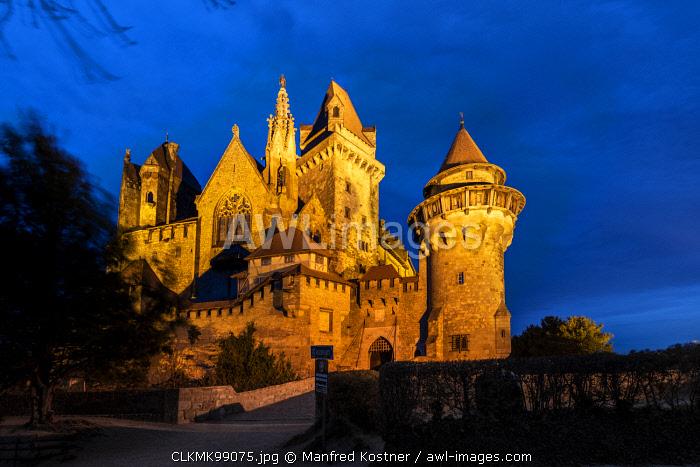 Leobendorf, district od Korneuburg, Lower Austria, Austria, Europe. Dusk at the Kreuzenstein castle (Burg Kreuzenstein)