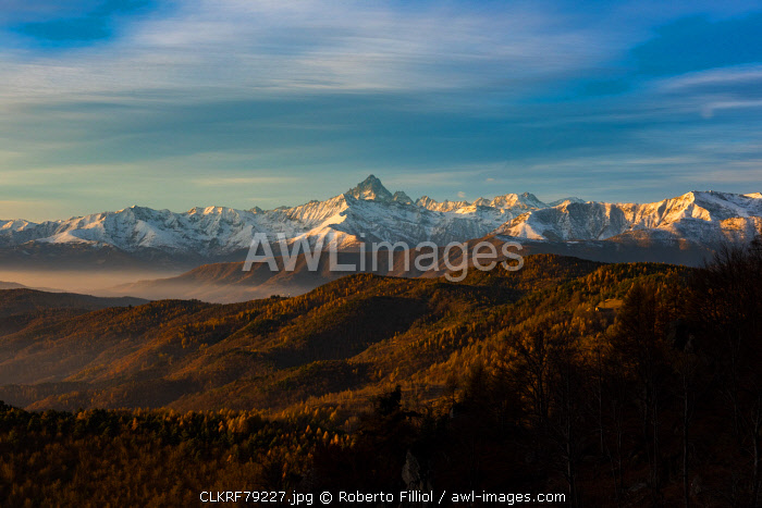 Noce valley, Turin Province, Piedmont, Italy. Sunrise at Colle Sperina.
