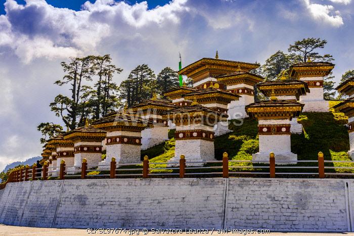The 108 memorial chortens or stupas, Dochula Pass on the road from Thimpu to Punakha. Bhutan,