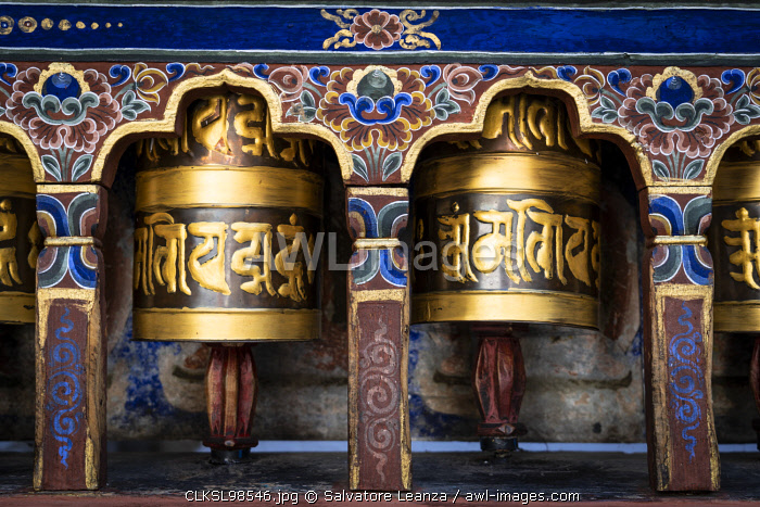 Prayer wheels. Kyichu Lhakhang also known as Kyerchu Temple or Lho Kyerchu. Paro District,  Bhutan