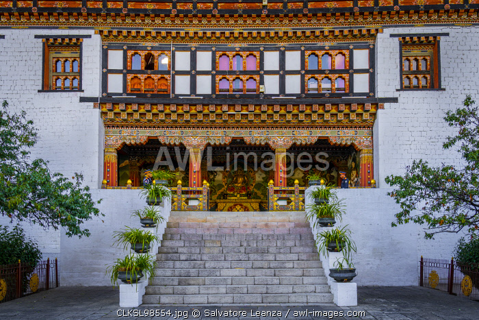 Entrance of the Tashichho Dzong a Buddhist monastery and fortress on the northern edge of the city of Thimphu, Bhutan