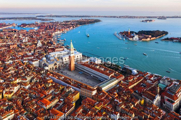 Aerial view of St Mark's square and San Giorgio Maggiore church, Venice, Italy