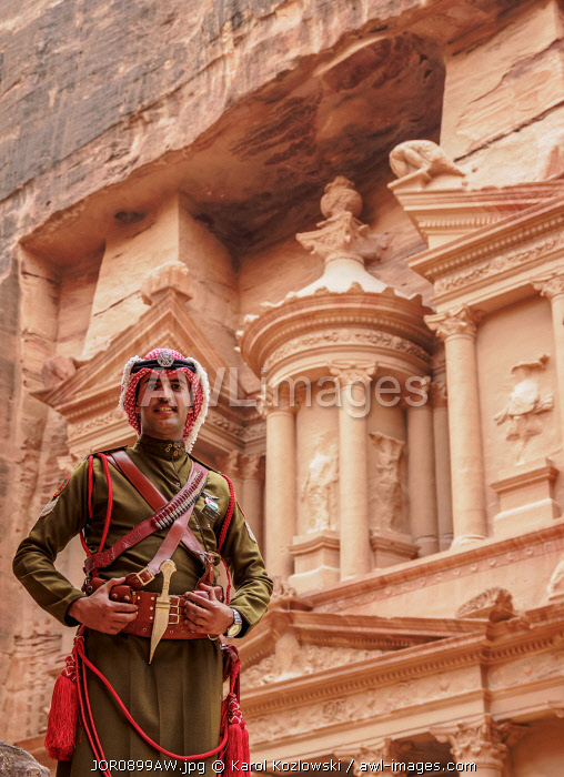 Jordanian Army Soldier in front of The Treasury, Al-Khazneh, Petra, Ma'an Governorate, Jordan (MR)