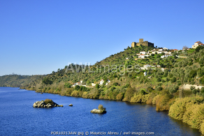 awl-images.com - Portugal / The 13th century castle of the fortified medieval village of Belver overlooking the Tagus river. Beira Baixa, Portugal