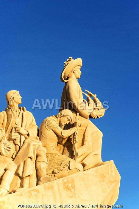 awl-images.com - Portugal / Detail of the Monument to the Discoveries (Padrao dos Descobrimentos) by architect Cottinelli Telmo and the sculptor Leopoldo de Almeida. Henry the Navigator facing the Tagus river. Belem, Lisbon. Portugal