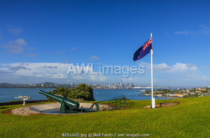 The Disappearing Gun of the South Battery, North Head, Auckland City and Harbour from Devonport, Auckland, New Zealand, Pacific Ocean.