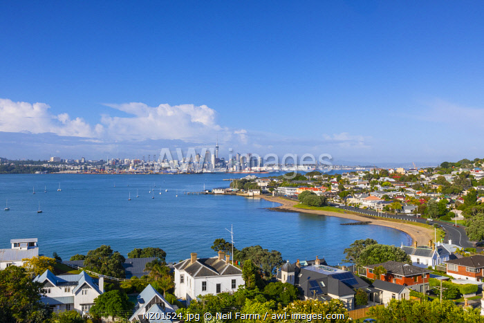 Auckland City and Harbour from Devonport, Auckland, New Zealand, Pacific Ocean.