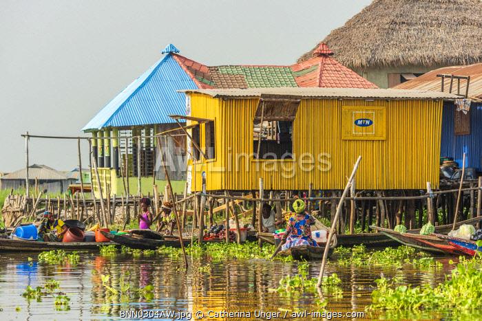 Africa, Benin, Lake Nokoué. In the famous stilt village of Ganvie