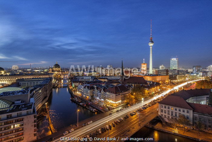 Iconic view on the Mitte district of Berlin with the famous TV tower in the centre and the catheral on the left.