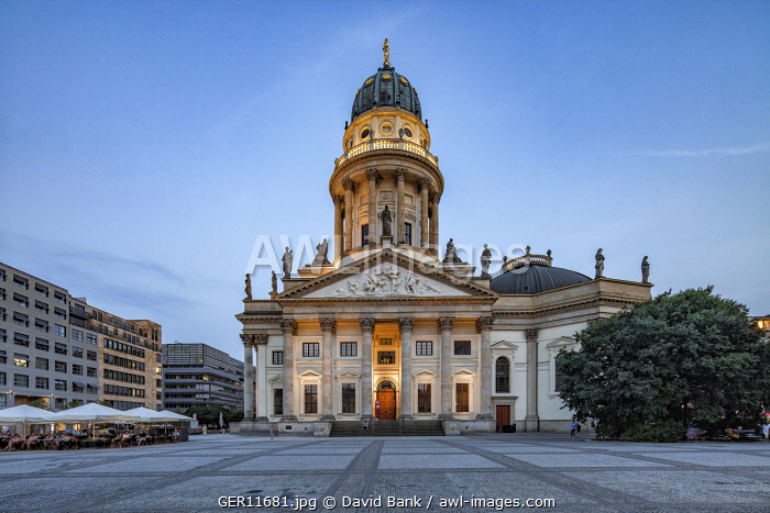 The German Church is located in Berlin on the Gendarmenmarkt across from French Church of Friedrichstadt.