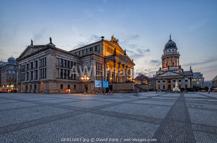 The Gendarmenmarkt is a square in Berlin and the site of an architectural ensemble including the Konzerthaus (concert hall) and the French and German Churches.