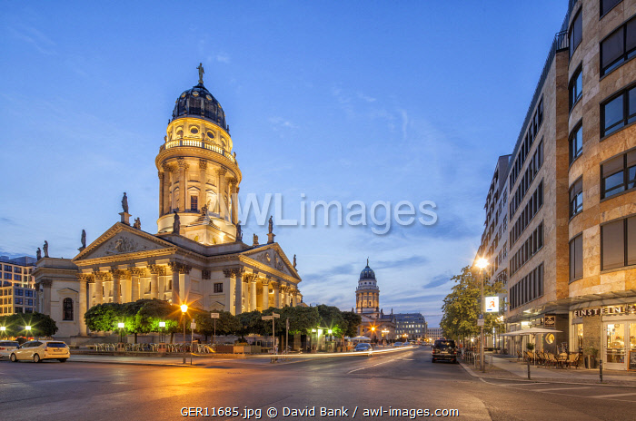 The Gendarmenmarkt is a square in Berlin and the site of an architectural ensemble including the Konzerthaus (concert hall) and the French and German Churches. The latter in the foreground.