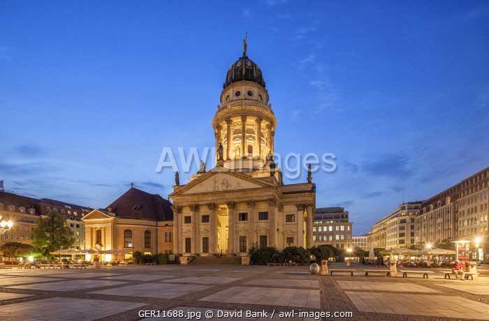 The French Church at Gendarmenmarkt Square in Berlin during the Blue Hour.