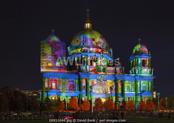 The Berlin Cathedral during the Festival of Lights.