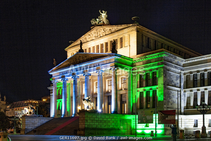 The Gendarmenmarkt is a square in Berlin and the site of an architectural ensemble including the Konzerthaus (concert hall) and the French and German Churches. Here shown the concert hall during the Festival of Lights.