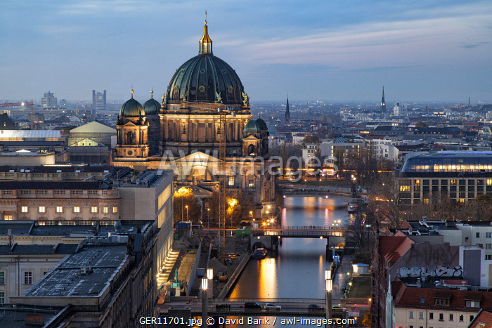 Berlin Cathedral in the Mitte District at dusk.