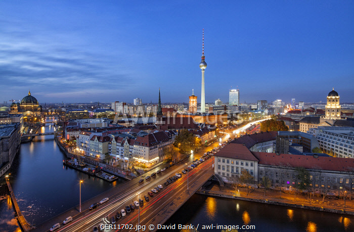 Iconic view on the Mitte district of Berlin with the famous TV tower in the centre, the catheral on the left and the Stadthaus on the right.