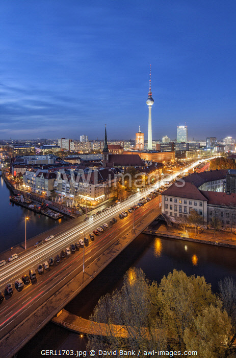 Iconic view on the Mitte district of Berlin with the famous TV tower in the centre.