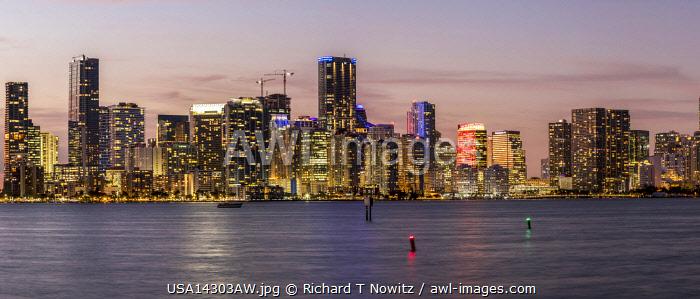 USA, Florida, Miami skyline  of city from Rusty Pelican Restaurant.