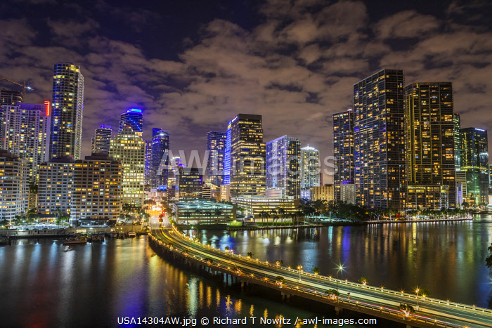 USA, Florida, Miami downtown business district from Brickell Key.