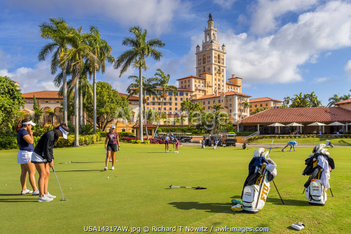USA, Coral  Gables, Florida. The Donald Ross Championship golf corse at historic Biltmore Hotel.