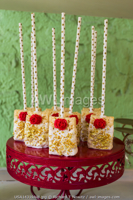 USA, Coral Gables, Florida.Sweets at  bridal shower reception  featuring  popsicle cakes or cakes on a stick.