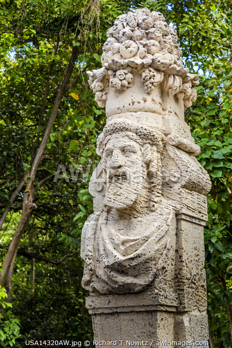 USA, Miami, Florida. The gildedage estate and gardens of Vizcaya is a National Historic Landmark filled with irreplaceable artwork, statues and architectural elements.