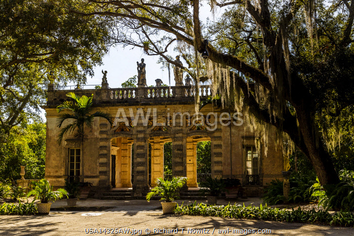 USA, Miami, Florida.  Vizcaya is a National Historic Landmark a garden pavilion  with statues and ornate architectural elements.