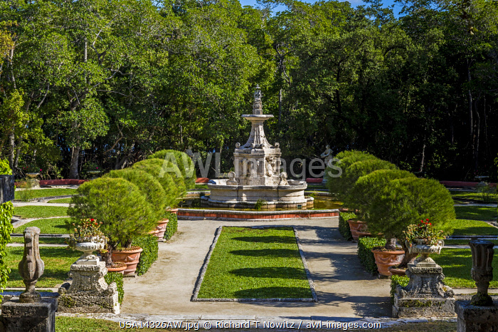 USA, Miami, Florida. The gildedage estate and gardens of Viscaya. Carved stone statutes and in the gardens.