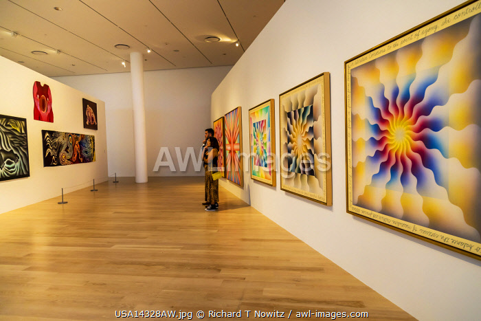 USA, Miamai, Florida, Design Center District, paintings in a gallary if the Institute of Contemporary Design.