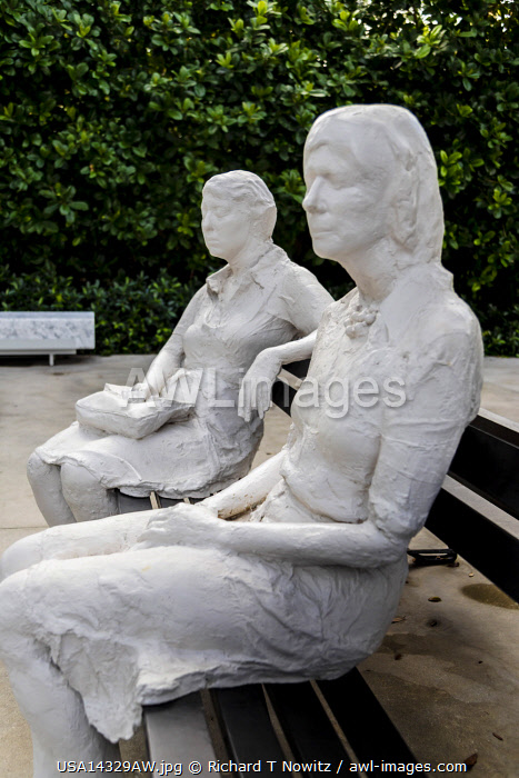 "USA, Miami, Florida. Institute of Contemporary Art, ""Figures on a Bench"" by George Segal in the museum sculpture garden."