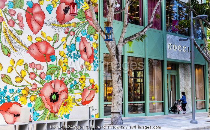 USA, Miamai, Florida, a wall mural and store front of Gucci store in Design Center District.