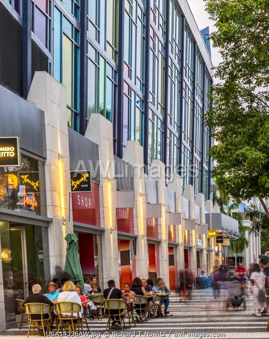USA, Florida, Miami Beach outdoor pedestrian shopping mall on Lincoln Road.