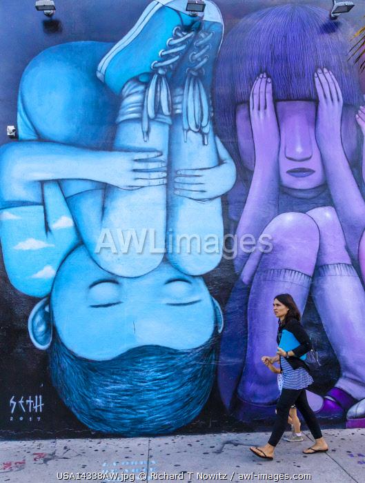 USA, Miami Floirida. Wynwood Arts District is a trendy neighborhood with restaurants, bars, art galleries and numerous wall murals