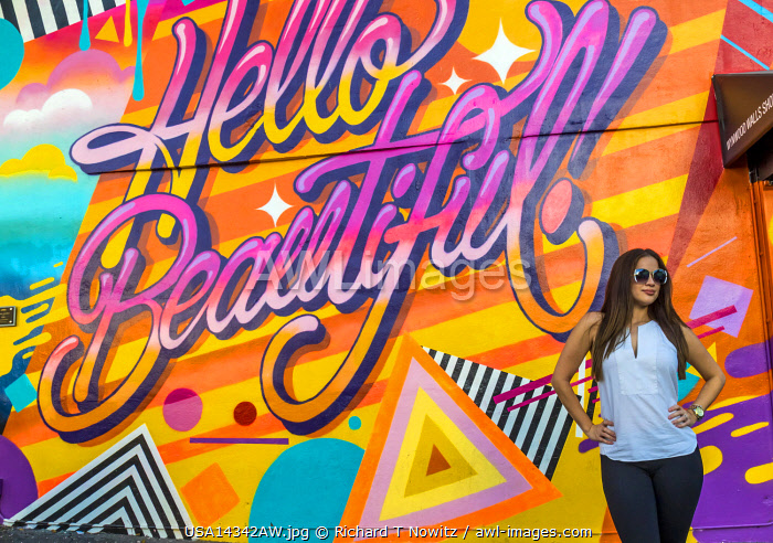 USA, Miami Floirida. Wynwood Arts District is a trendy neighborhood with restaurants, bars, art galleries and numerous wall murals