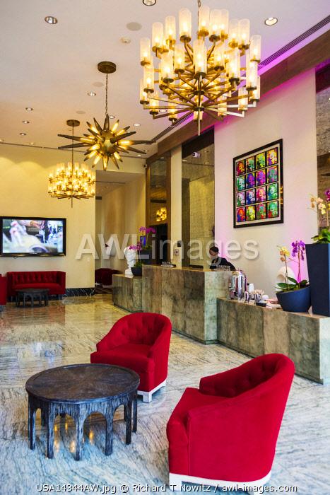 USA, Florida, Miami. Hotel reception lobby of the W-Hotel.