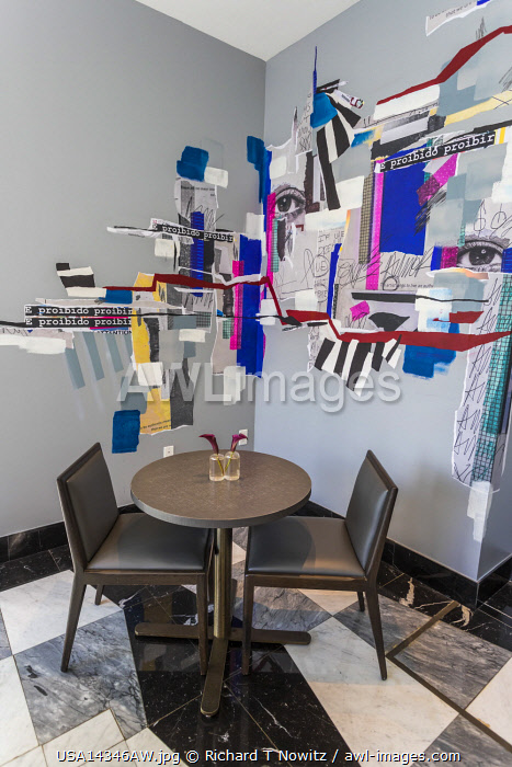 USA, Florida, Miami.  Small meeting room with trendy art work.