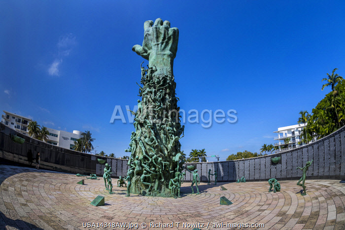 "USA,Florida, Miami Beach. Holocaust Memorial sculpture "" Love and Anguish""  by artist Kenneth Treister. Featuring a 42 Foot High Bronze Hand."