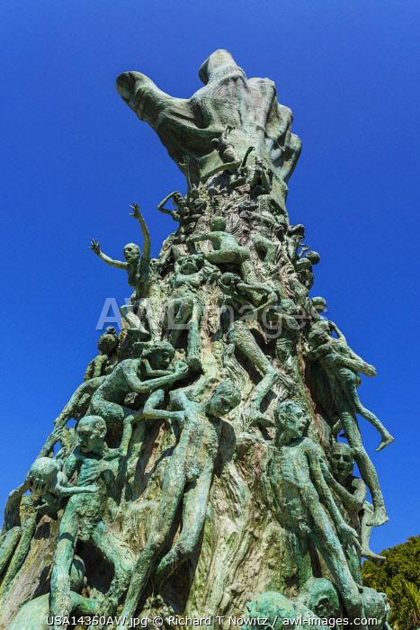 "USA,Florida, Miami Beach. Holocaust Memorial sculpture "" Love and Anguish""  by artist Kenneth Treister."