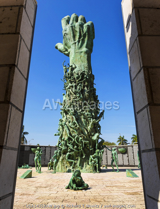 "USA,Florida, Miami Beach. Holocaust Memorial sculpture "" Love and Anguish""  by artist Kenneth Treister."