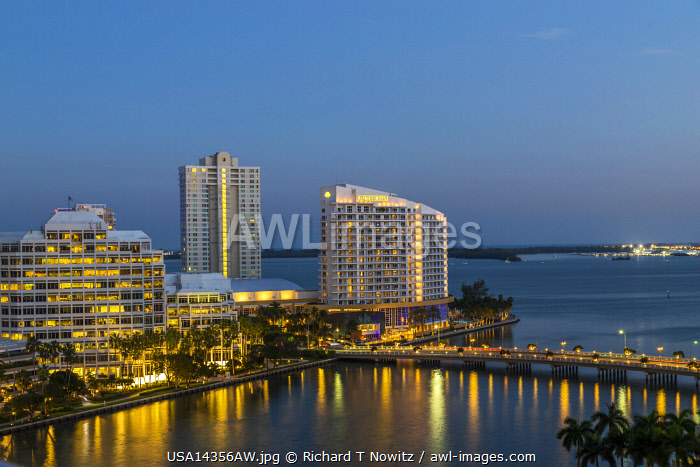 View of Brickell Key, a small island covered in apartment towers and hotels , across from, Miami, Florida, USA