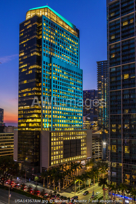 Twilight view of the Northern Trust Office tower in downtown Miami, Florida, USA.