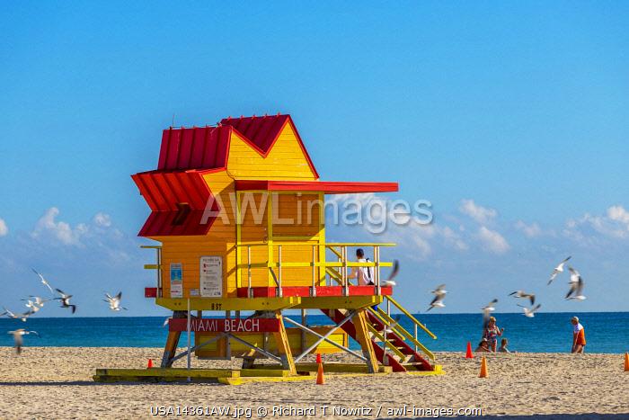 USA, Florida, Miami Beach, Lifegaurd stations on South Beach.