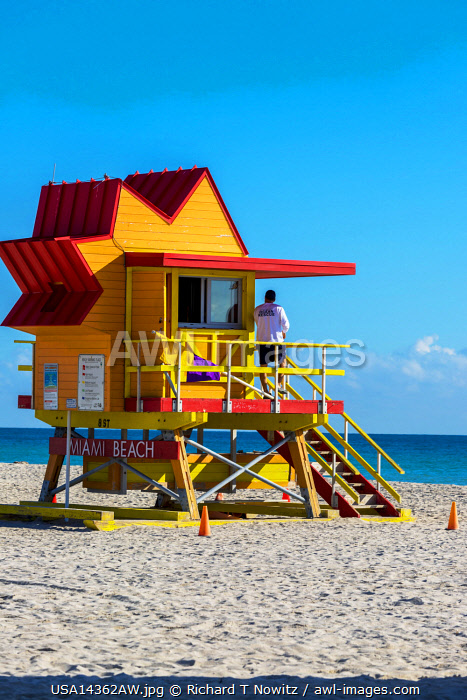 USA, Florida, Miami Beach, Lifegaurd stations on South Beach.