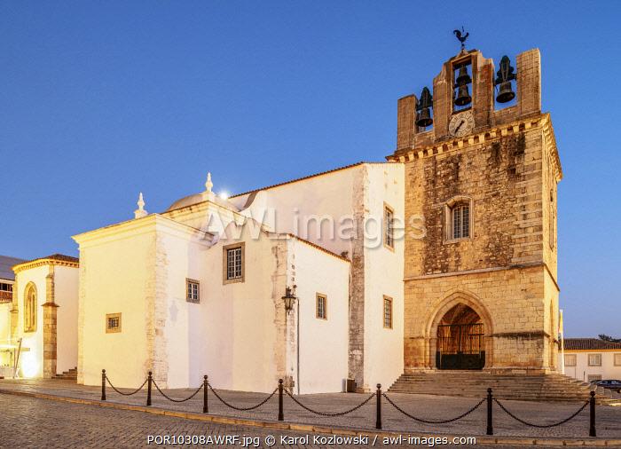 Se Cathedral at dusk, Faro, Algarve, Portugal