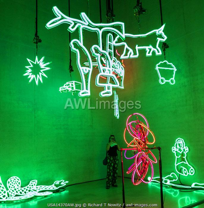 USA, Florida, Miami. Perez Art Museum, a display of neon installation.